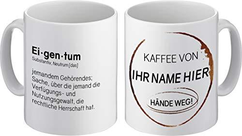 PHRASE 1 by FotoPremio Tasse mit lustigem Spruch und eigenem Namen | Kaffee von… Hände Weg! | Kaffeetasse mit Namen beidseitig Bedruckt | Geschenkidee für Freunde, Familie oder Lieblingskollegen