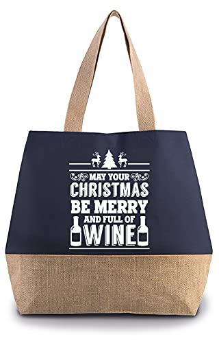 Hippowarehouse May your Christmas be merry and full of Wine Premium reusable eco friendly 100% cotton tote shopper bag for life 40cm x 53cm x 15cm