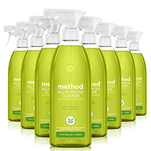 Method All-Purpose Cleaner Spray, Plant-Based and Biodegradable Formula Perfect for Most Counters, Tiles, Stone, and More, Lime + Sea Salt Scent, 828 ml Spray Bottles, 8 Pack, Packaging May Vary
