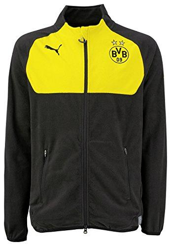 PUMA Herren Fleecejacke BVB Full Zip Fleece, black-Cyber yellow, S