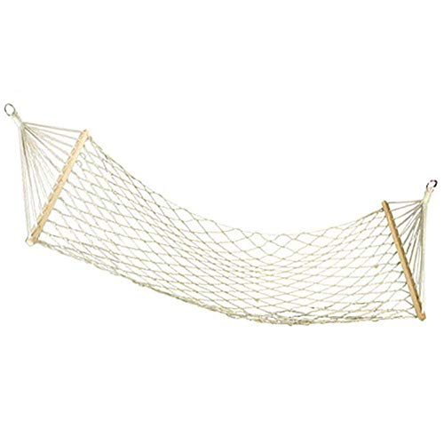 CLX Outdoor hammock Trinidad Single Hammock Wollweiß crossbar Chinese cherry width capacity Hammock Bali series narrow cotton rope,White