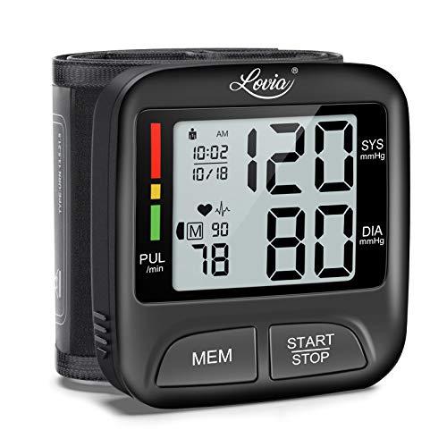 Digitale Handgelenk Blutdruckmessgerät - Lovia Blutdruckmessgerät Vollautomatische Blutdruck- und Pulsmessung, und 2 * 180 Speicher, Warnfunktion bei möglichen Herzrhythmusstörungen