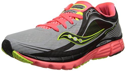 Saucony Women's Kinvara 5 Viziglo Running Shoe,Silver/Vizi Coral/Citron,7 M US