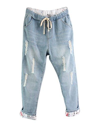 Anguang Mujer Boyfriend Vaqueros Ajuste Suelto Pantalones Jeans Haremjeans con Cordón Ligero Azul XL