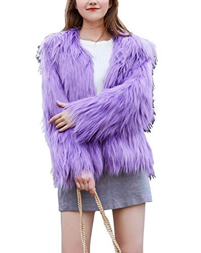 Adonis Pigou Women's Solid Color Shaggy Faux Fur Coat Long Sleeves Jacket Outerwear Tops (Lavender#, S)