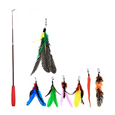 Bascolor Retractable Cat Toys Interactive Feather Teaser Wand Toy with 7 Refills Feathers Birds Worms Catcher for Cats Kitten