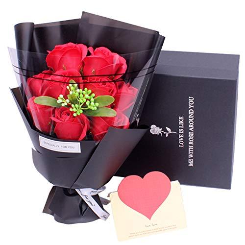 Amycute Fiori di Sapone Bouquet, Artificiale Rose Bouquet Floreale Handmade Sapone, Regalo per Anniversario, Compleanno, Matrimonio, San Valentine (Rosso)