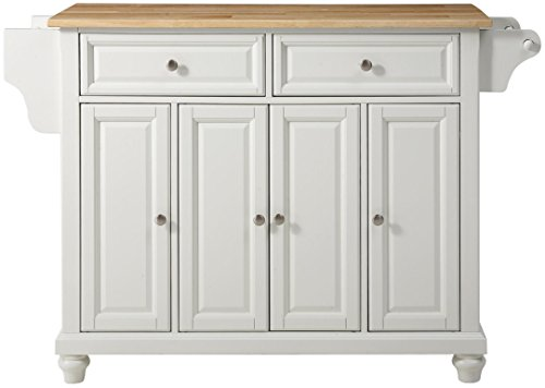 Crosley Furniture Cambridge Full Size Kitchen Island with Natural Wood Top, White
