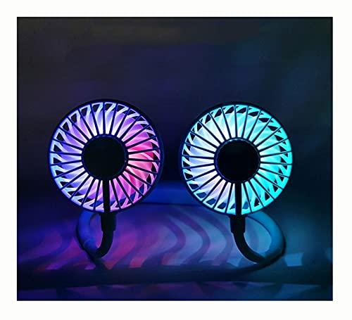 ZHANMAGS Ventilador portátil para colgar el cuello con luces mágicas, mini ventilador de carga USB ajustable de 360°, adecuado para viajes, deportes y montañismo (color: rojo)