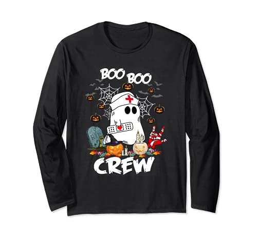 Retro Halloween 2021 Nursing RN Boo Boo Crew Ghost Nurse Long Sleeve T-Shirt