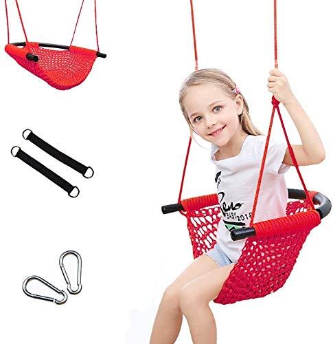 JTSYUXN Columpio para Niños Tejidas a Mano Asiento de Columpio Cuerdas Ajustable Mecedora (Color : Red)