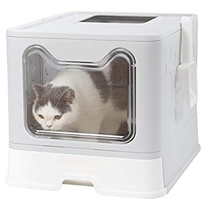 Bingopaw Large Cat Litter Box, Folding Cat Litter ToiletFront Entry and Top Exit, Large cat litter box with litter scoop and retractable tray