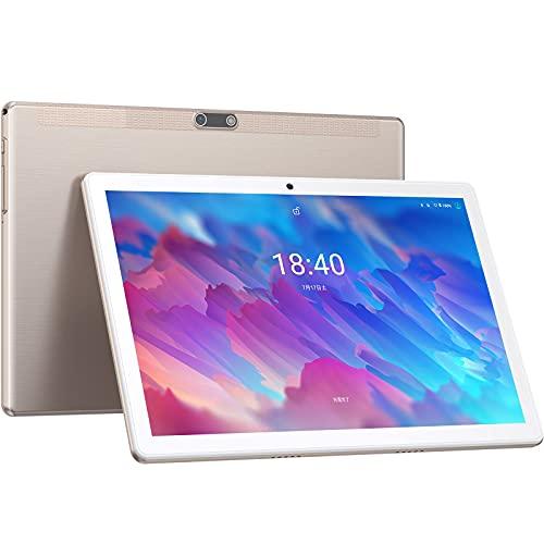 タブレット アンドロイド 10.1インチ wi-fiモデル 8コアCPU 2GBRAM 32GB内蔵メモリー 1280x800 HD大画面 128GB拡張可能 大容量 5000mAh デュアルカメラ Bluetooth4.2 GPS 日本語仕様書付き LNMBBS android 10 タブレット ゴールド