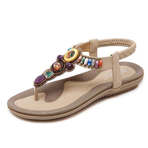 Sandali da Donna Large Size Scarpe da Donna Bohemian Flat Beads Large Size @ Yellow_45