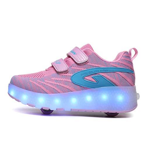 XZzry Angeführt Roller Schuhe Räder Trainer Flashing Multisport Laufen Outdoor-Gymnastik-Turnschuhe (Color : Pink, Size : 38)
