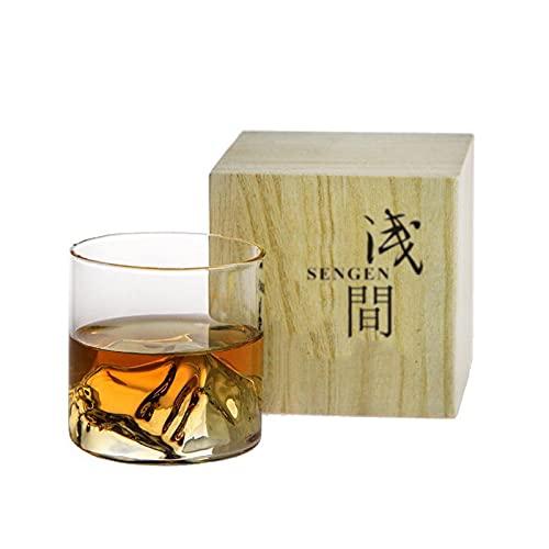 2 PCS 3D Iceberg Vodka Shot Glass Mountain Whisky Copa Licor Vaso Whiskey-Glass Madera Regalo Caja de Regalo Estilo japonés Copa de Vino Set Decanters Juegos de Caras 902