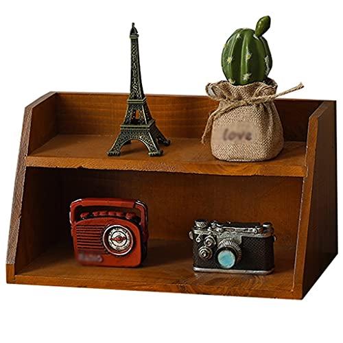 Schmuckkästen Retro Aufbewahrungsbox Schräges Zweilagiges Lagerregal Schreibtisch Massivholz Lagerregal Mehrlagiges Kosmetikregal Wohnzimmer Desktop Organizer (Color : Brown, Size : 30×14.5×16cm)