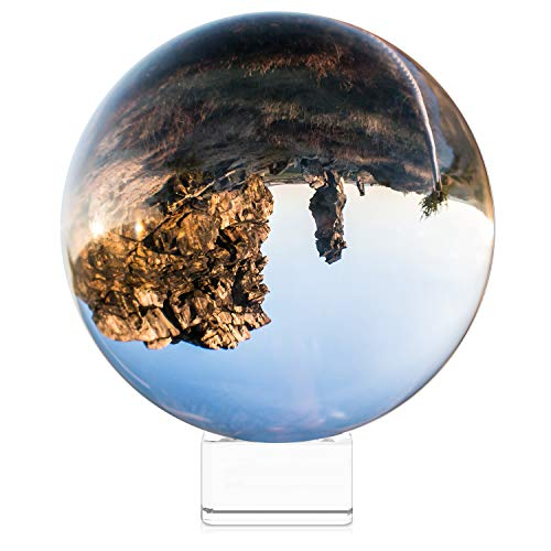 Navaris Crystal Clear Glass Ball - 130mm Transparent K9 Globe for Meditation Divination Healing - Photo Sphere Prop for Art Decor, Photography w/Stand