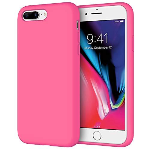 JETech Funda de Silicona Compatible iPhone 7 Plus, iPhone 8 Plus, 5,5', Sedoso-Tacto Suave, Cubierta a Prueba de Golpes con Forro de Microfibra, Pitaya