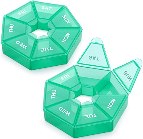 Weekly Pill Organizer, 2 Pack Portable Pill Box Medicine case (Seven Day) New Edition for Vitamin/Fish Oil/Pills/Supplements-Arthritis Friendly (Cyan)
