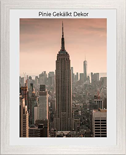 1a Bilderrahmen Monzetta 48x66 Pinie gekälkt Dekor 66x48 cm mit Rückwand und spiegelfreiem Antireflex Acrylglas 1mm