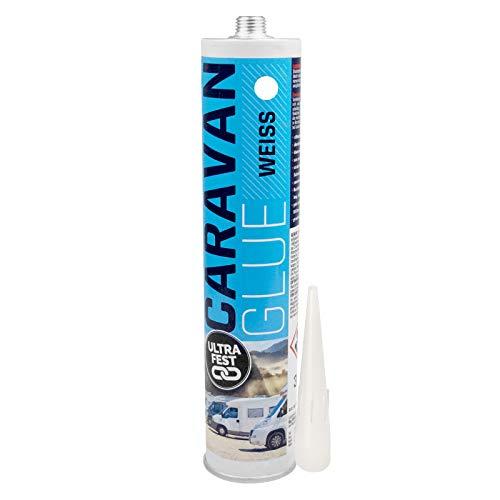 Everglue Caravan Glue 1K PU Montagekleber zum Kleben und Abdichten am Wohnmobil, ohne Silikon, UV-beständig, bleibt dauerelastisch, Farbe: Weiß, 360g Kartusche