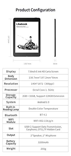 2019最新版LikeBookAresNote7.8インチ電子書籍リーダー+オクタコアプロセッサ+2GBRAMメモリ+32GBストレージ,高性能PDFリーダーとして,Android6.0搭載,Type-Cを搭載し高速データ転送、イヤホンやOTGに対応.手書き入力をテキストに自動変換.+(専用スタイラスペン+専用ハードカバー・スクリーンプロテクターフィルム・交換用ペン先)