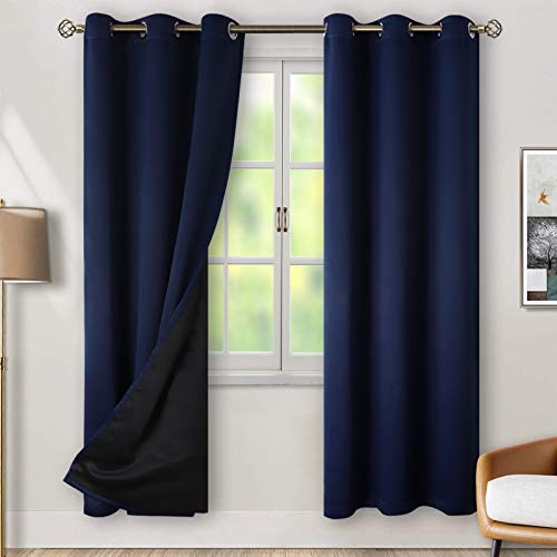 BGment Thermal Insulated 100% Blackout Curtains for Bedroom with Black Liner, Double Layer Full Room Darkening Noise Reducing Grommet Curtain ( 42 x 84 Inch, Navy Blue, 2 Panels )