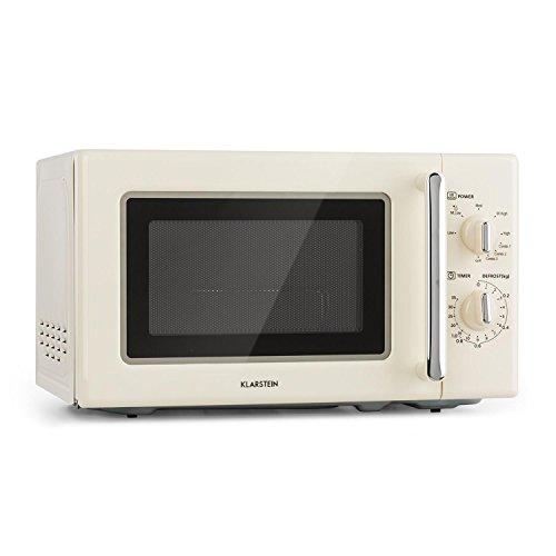 Klarstein Caroline Mikrowelle - Mikrowellen-Grill-Kombigerät, 2-in-1 Mikrowelle Grillfunktion, 20 Liter Garraum, 700 / 1000 Watt Leistung, Ø 25,5cm, beige