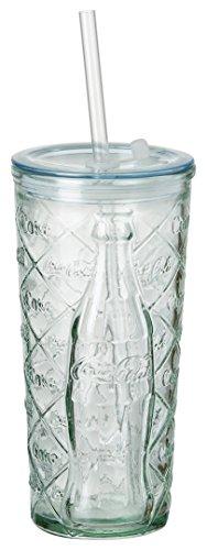 Coca Cola Relief Glas To Go Raute, 530 ml, Trinkbecher aus 100% recyceltem Glas mit Deckel und Trinkhalm
