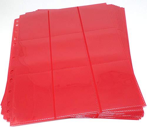 docsmagic.de 10 18-Pocket Pages Red - Sideloading - 11 Holes - MTG PKM YGO - Pagina Roja