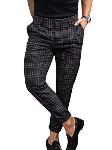 Onsoyours Pantalón para Hombre Chino Casual Jogging Slim Fit Largos Deportivos Jogger Pants Impresión a Cuadros Trouser Slim Fit Pantalones Negro M