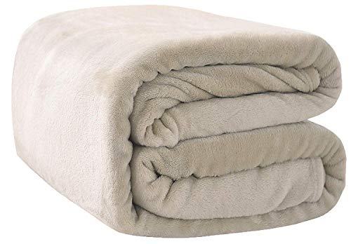 Rohi Fleece Throw Blankets King Size -Super Soft Fluffy Faux Fur Warm Solid Cream Bed Throws For Sofa Fleece Bedspread Blanket - 200x240 cm.