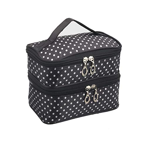 Double Layer Cosmetic Bag with Mirror, Waterproof Travel Toiletry Bag, Black with White Polka Dot Makeup Bag Organizer