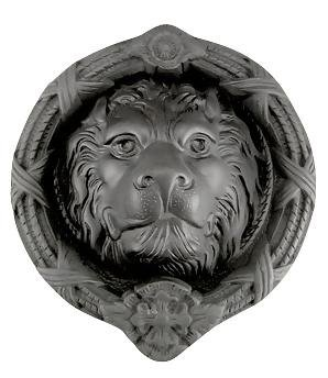 Copper Mountain Hardware Ribbon & Reed 5 1/4 Inch (4 1/2 Inch c-c) Solid Brass Lion Door Knocker (Oil Rubbed Bronze)