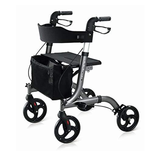 Andador Rollator para minusválidos de aluminio, diseño más moderno y una estructura más completa, ancianos, ligero, plegable, frenos manuales, con asiento, cesta y ruedas giratorias delanteras.