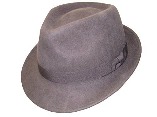 Major Wear Unisexe Gris 100% Laine en Feutre Fedora Chapeau avec Bande – 4 Tailles - Gris - Small