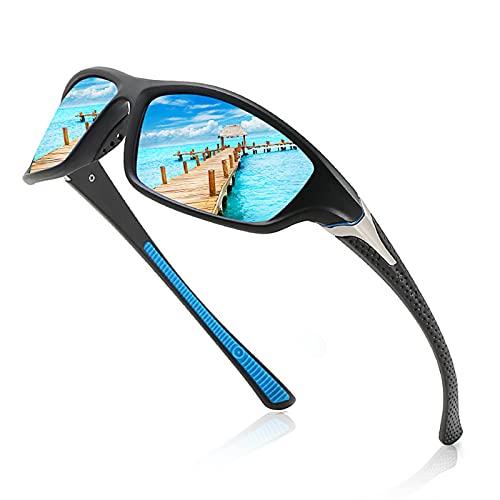 Gafas Deportivas Hombre Gafas de Sol Polarizadas Súper Ligero y Cómodo Anti UVA UV Marco TR90 Lente Espejo con Gafas Hombre y Mujer Ciclismo MTB Running Coche Moto Montaña,Azul