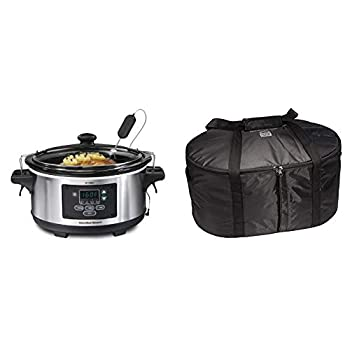 Hamilton Beach Portable 6-Quart Set & Forget Digital Programmable Slow Cooker With Temperature Probe & Travel Case & Carrier Insulated Bag for 4 5 6 7 & 8 Quart Slow Cookers