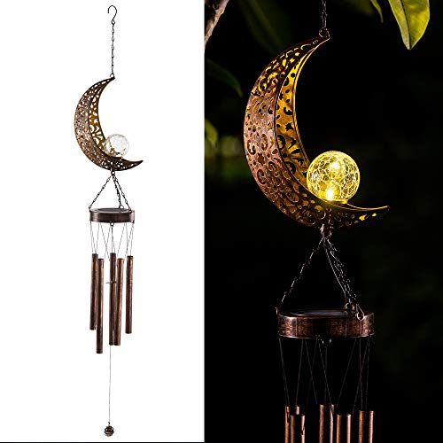 LeiDrail Solarbetriebene LED Windchime Outdoor Garten Solar Metall Windspiel Licht Wasserdicht hängende Mobile Lampe Windbell Licht für Patio Deck Rasen Yard Home Party Festival Dekoration