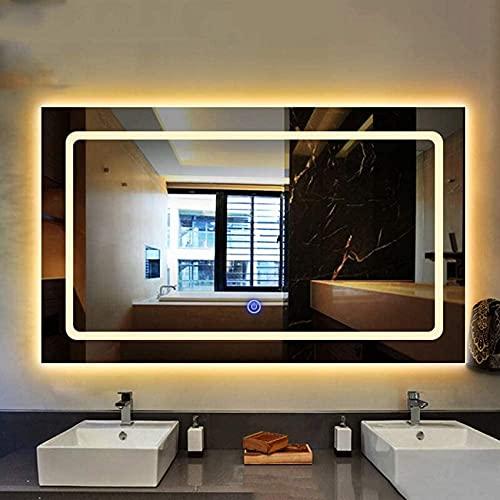 NMDCDH Espejo de baño Espejo Rectangular Iluminado sin Marco, Luces LED montadas en la Pared, Interruptor de Sensor táctil Inteligente, Espejo de tocador 50 * 70cm
