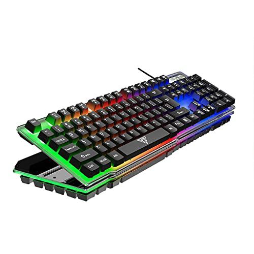 Teclado mecánico para juegos con cable Meipai, teclado estándar ergonómico retroiluminado con arco iris luminoso colorido, para escritorio, computadora portátil