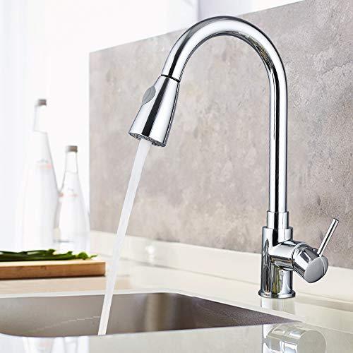 Froadp Modern küchenarmatur mit brause ausziehbar 360° Schwenkbereich Einhebel Wasserhahn verstellbarer Sprühkopf für Hotel Familie Küche Bad(Type B)