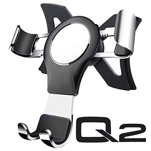 Handyhalterung für Audi Q2, Q2 Handyhalterung Q2 Handyhalter Audi Q2 Phone Holder Gravity Sperre Aluminium Hände Frei Einfache Montage Audi Q2 Zubehör (Silber)