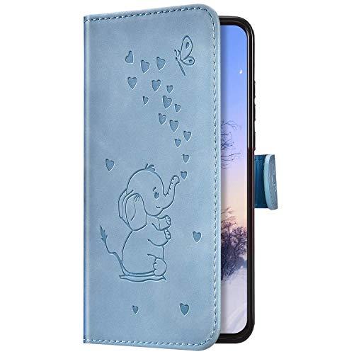 Uposao Kompatibel mit iPhone 7 Plus/iPhone 8 Plus Hülle Leder Klapphülle Retro Elefant Liebe Muster Flip Schutzhülle Handyhülle Brieftasche Wallet Bookstyle Case Tasche Magnet Kartenfach,Blau