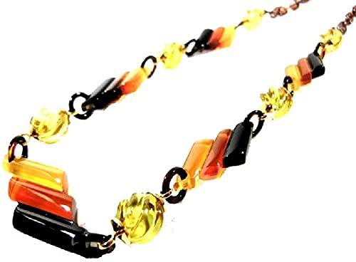 【創業146年べっ甲の菊池セール中】 本べっ甲三色ネックレス琥珀付き (45cm) 145 【全商品セール】