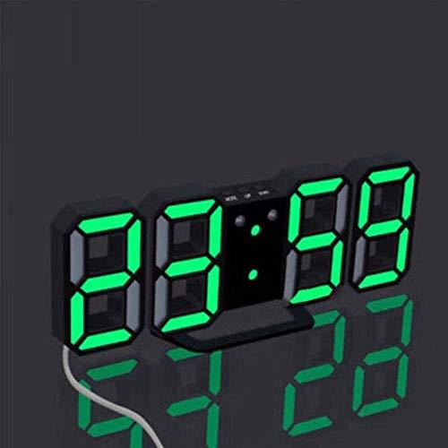 Leise, nicht tickende Wanduhren LED Uhr Modern Digital LED Tisch Schreibtisch Nacht Wanduhr Wecker 24 oder 12 Stunden Anzeige (Schwarz-Weiß) - Schwarz-Grün
