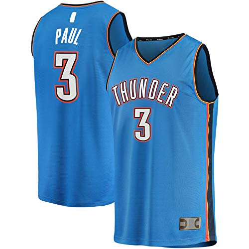 HFHDF Chris Basketball Jersey Paul Top Sin Mangas Oklahoma Mesh City Clothing Thunder #3 Fast Break Player Jersey Azul - Icono Edition-XL