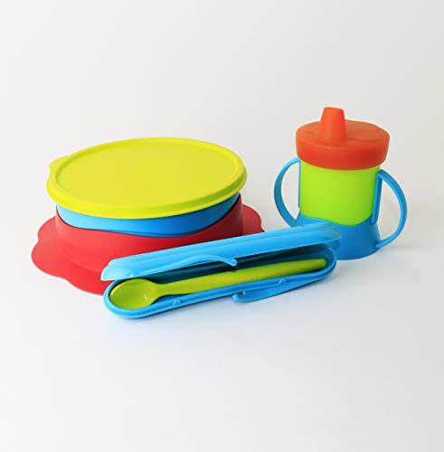 TUPPERWARE Baby Teller + Kinder Trinklernbecher 200 ml grün orange blau Schnabelbecher + Fütterlöffel supersoft im Etui Baby TupperCare + Kühle Ecke Mint 500ml