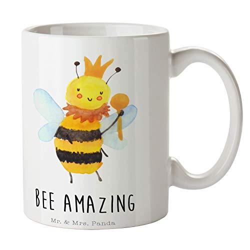 Mr. & Mrs. Panda Tee, Kaffeebecher, Tasse Biene König mit Spruch - Farbe Weiß